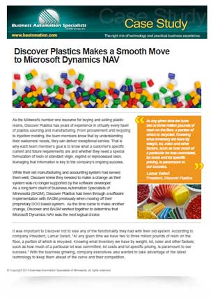 Discover Plastics Makes a Smooth Move to Microsoft Dynamics NAV